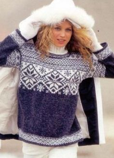 images attach c 6 91 924 Knitting Club, Knitting Stiches, Fair Isle Knitting, Hand Knitting, Hand Knitted Sweaters, Baby Sweaters, Sweaters For Women, Norwegian Style, Handgestrickte Pullover