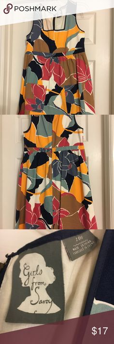 "Multicolored dress from Francesca's Multicolored dress with front pockets. Back zipper. Very flattering on! Falls a few inches above the knee (I'm 5'5"").  Lightweight and perfect for the fall! Dresses"