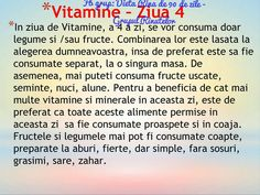 Vitamine - ziua 4 Rina Diet, Pots, Healthy Diet Recipes, Recipies, Weight Loss, Workout, Fitness, Vitamins, Biology