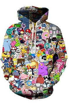 Lcostew Womens Stylish Cartoon Print Loose Pullover Hooded Sweatshirt Multicolor L ** To view further for this item, visit the image link. Pullover Sweaters, Hooded Sweatshirts, Clothing Items, Autumn Fashion, Graphic Sweatshirt, Cartoon, Unisex, Stylish, Womens Fashion