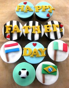 World Cup theme for Father's day #cupcakes