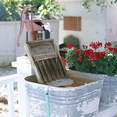 Decorating Ideas for the Fourth of July Sounds of the Country: Fountain made from an old red pump, washboard and laundry tub.Sounds of the Country: Fountain made from an old red pump, washboard and laundry tub.