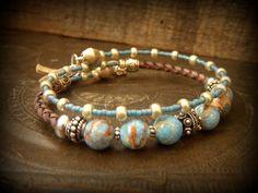 Jasper, African Beaded Bolo Leather Gypsy, Tribal, Wrap Charm Bracelet