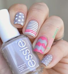 Essie fall 2014 collection - Take it outside - gray and pink mix and match nails