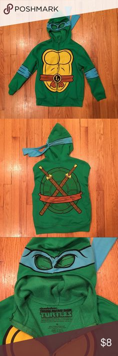 Teenage Mutant Ninja Turtle sweatshirt size M Teenage Mutant Ninja Turtle sweatshirt size M. Great dress up sweatshirt for your TMNT lover. Hood zips up over face to create a mask over the eyes. Size medium fits my six year old on the larger side. Worn a handful of times, in excellent condition. Shirts & Tops Sweatshirts & Hoodies