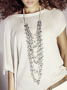 Brunello Cucinelli Linen and Glass Bead Necklace