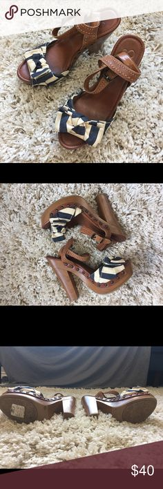 """Women's Jessica Simpson heels size 8.5 Wedge heels with summery navy and white stripes.  Wooden-look heels with 6"""" inches in height. Jessica Simpson Shoes Mules & Clogs"""