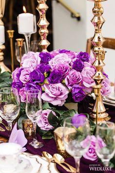 WedLuxe Magazine - Page 6 of 647 - Small Wedding Centerpieces, Wedding Table Flowers, Wedding Reception Tables, Beach Wedding Decorations, Wedding Table Settings, Flower Decorations, Purple Wedding, Gold Wedding, Elegant Wedding