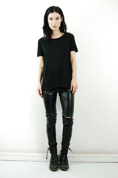 Black tee and leather leggings