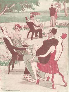 Ameublement dernier cri - - fauteuil couple - Dessin Pem - Gravure Ancienne 1928