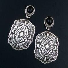 Darryl Becenti (Navajo) - Black Onyx & Stamped Sterling Silver Post Dangle Earrings #42551 $225.00