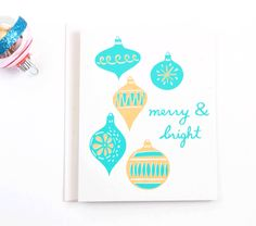 Merry & Bright Hand Screen Printed Retro Holiday Card by Vitamini