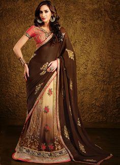 Lovely Viscose Brown Resham Work Lehenga Saree