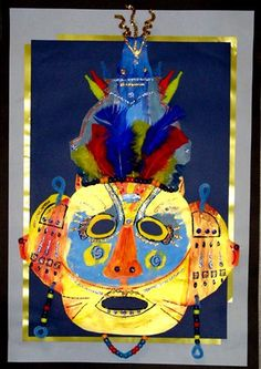 Multi-media mask, by my student Mason, grade 4 (Donna Staten) Art Lessons For Kids, Art For Kids, 4th Grade Art, Handprint Art, Art Projects, Project Ideas, Arts Ed, Art Lesson Plans, Elementary Art