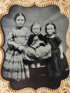 Antique 1 6 Plate Daguerreotype 3 Young Girls Sisters Period Attire | eBay