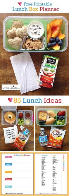 Free Printable School Lunch Box Planner with 85 Lunch Ideas. Older kids could start packing their own lunches. Free Printable School Lunch Box Meal Planner with 85 Lunch Ideas. Helpful ideas for kids school lunches. Back to school lunch recipes. Lunch Box Recipes, Lunch Snacks, Baby Food Recipes, Healthy Snacks, Kid Snacks, Lunch Menu, Healthy Kids, Kids Lunch For School, Lunch To Go