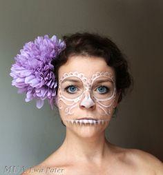 Beautiful Halloween makeup openwork white sugar skull