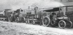 wynns: 2 x Fowler engines belonging to well known Welsh company Wynns, seen here around 1920 loaded with narrow gauge locos destined for one of the slate quarries. Antique Tractors, Antique Cars, Heavy Truck, Steam Engine, Rollers, Newport, Agriculture, Steampunk, Old Things