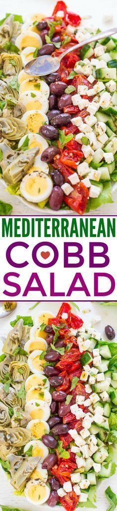 Mediterranean Cobb Salad An EASY HEALTHY Mediterranean twist on classic Cobb salad thats ready in 10 minutes Artichokes olives peppers cucumbers feta and more The vinaig. Healthy Diet Recipes, Healthy Salads, Salad Recipes, Vegetarian Recipes, Healthy Eating, Ramen Recipes, Broccoli Recipes, Dinner Healthy, Bean Recipes