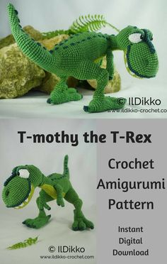 T-mothy the T-Rex is crocheted amigurumi doll that promises to be on his best Dinosaur behavior while he lives at your house. You can create your own T-mothy the T-Rex Dinosaur with this downloadable pattern. #crochet #amigurumi #crochetdoll #ad #amigurumidoll #amigurumipattern #dinosaur #trex #instantdownload