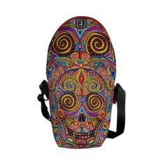 Colorful Sugar Skull Art Mini Messenger Bag