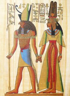 God Horus Holding Hand of Queen Nefertiti (Reprint From an Egyptian Painting) - People Posters (Reprint on Paper - Unframed) Ancient Egypt Art, Ancient History, European History, Ancient Aliens, Ancient Artifacts, Ancient Greece, American History, Egyptian Mythology, Egyptian Art