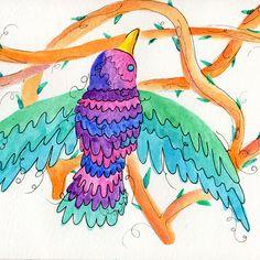 Then she flew away into the night. Esta... - Paulina Beltrán #bird #frida #watercolour #thorne @paulinabemu