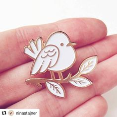 Adorable little birdy pin by @ninastajner  MORE INFO:  Yay! I am happy to announce that my Birdie pin has finally found it's nest  - my Etsy shop!  Birdie is also rose gold/white but it has a different back clutch than the other two. Due to it's very specific complex shape it has a bit thicker outline and a different back clutch (butterfly clutch). But it works perfectly! Go grab one for yourself before they fly away ! Link to my shop is in my bio #pingame #pin #pinstagram #cute #animals…