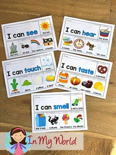 5 Senses Flip Books & Worksheets - In My World Kindergarten Reading Activities, Reading Resources, Learning Activities, Activities For Kids, Kindergarten Freebies, First Grade Freebies, Thing 1, Common Core Reading, Letter Recognition