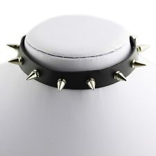 Gothic Cool Punk Spike Leather Choker Collar Necklace Silver Tone Studs Metal
