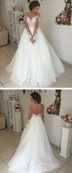 Bridal Unique Applique Long Sleeves Open Back Long Wedding Dresses, WG667