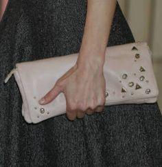 Mango blush pink fold-over clutch bag. Debuted 2011. Click for more details
