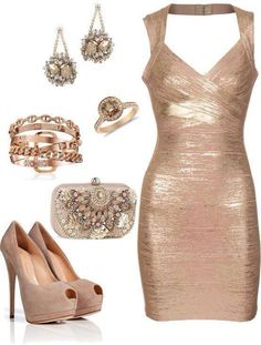 Gold dress and gold accessories