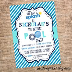 Kids Birthday Party invitations  Pool Party  by JaxDesigns27