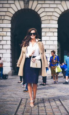 navy lace pencil skirt, white blouse, trench coat