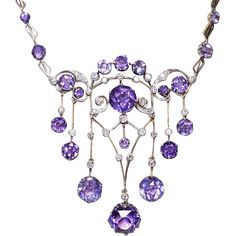 Made in Moscow in the 1930s The necklace is handcrafted in gilded silver and set with sparkling Siberian amethysts and diamonds. Marked with 875
