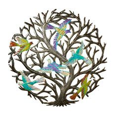 Tree of Hope Wall Hanging Painted cut metal tree of hope shelters life within its encircling branches. Haitian artisans express the beauty of life and hope, as they rebuild their lives after the 2010 earthquake.