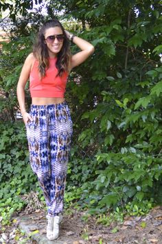 Haute Harem // coral crop top, printed tribal harem pants, fringe heels, booties #printsandpatterns