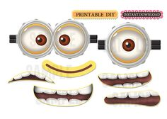 DIY Printable Instant Download Minion inspired birthday party balloons eyes, googles, mouth