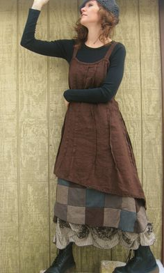 Brown Linen Slant Dress, worn over a cotton tee-shirt & a patchwork underskirt.  Design: sarahclemensclothing, on etsy,,, $99.00