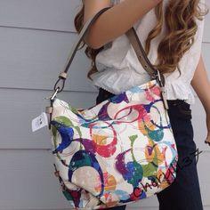 COACH Signature Purple Pink Green Blue Khaki Tote Bag Hobo Purse Handbag New