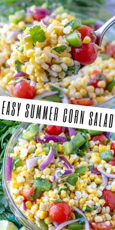 Quick colorful and full of flavor this Easy Summer Corn Salad is packed with corn peppers onions tomatoes cilantro and a citrus glaze. The perfect side to your summer bbq menu. Corn Recipes, Vegetable Recipes, Dinner Recipes, Shrimp Recipes, Crockpot Recipes, Chicken Recipes, Recipies, Dessert Recipes, Veggie Dishes