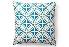 59.00 Agra 20x20 Cotton Pillow, Sea Blue on OneKingsLane.com