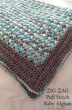 Zig-Zag Puff Stitch Baby Afghan Pattern - Seven Alive. Crochet baby or kids or adult Blanket. Crochet Motifs, Knit Crochet, Crochet Afghans, Unique Crochet Stitches, Free Crochet Blanket Patterns, Zig Zag Crochet, Tapestry Crochet, Cocoon Bebe, Crochet Crafts