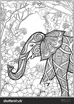 elephant in the forest coloring page for adults : Shutterstock 479380720
