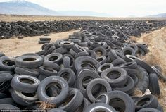 A tire dump in the desert ground of Nevada, USA. Photo by Daniel Dancer