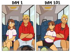 Tagged with funny, trains, lol, bus, public transportation; Taking Public Transit: Day 1 vs Day Crazy Funny Memes, Funny Relatable Memes, Wtf Funny, Stupid Funny, Funny Posts, Funny Cute, Hilarious, Cute Couple Comics, Couples Comics