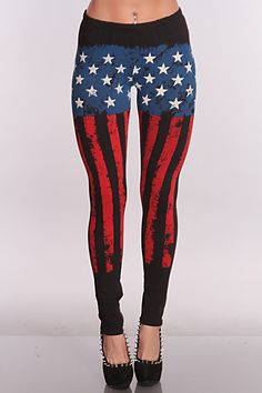 Dont feel left out and add these trendy patriotic leggings to your collection. Everyone will be talking about your fashion when they see you in these leggings! It features patriotic print, elastic waistband, and fitted.