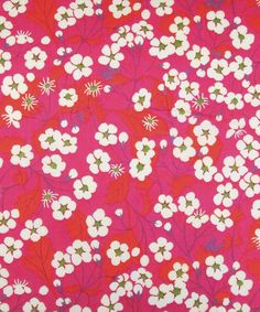 Mitsi, B, tana lawn  This design was re-created from a design in the Liberty Archive by the Liberty Fabric design studio for autumn 2008 season. It plays on Liberty's history with its Japanese style cherry blossom. The original was designed a member of Liberty's studio in the 1950s. It has been recoloured to go into the 2011 Classic Tana Lawn Collection.    Composition  100% Cotton