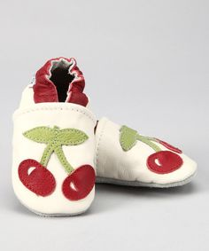 Take a look at this Augusta Baby White & Red Cherry Booties by Gifts Under $20: Kids' Apparel & Shoes on #zulily today!